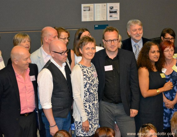 In front: Michael Williams, John Boyne, Áslaug Jónsdóttir, Andri Snær Magnason, Julian Meldon D'Arcy …