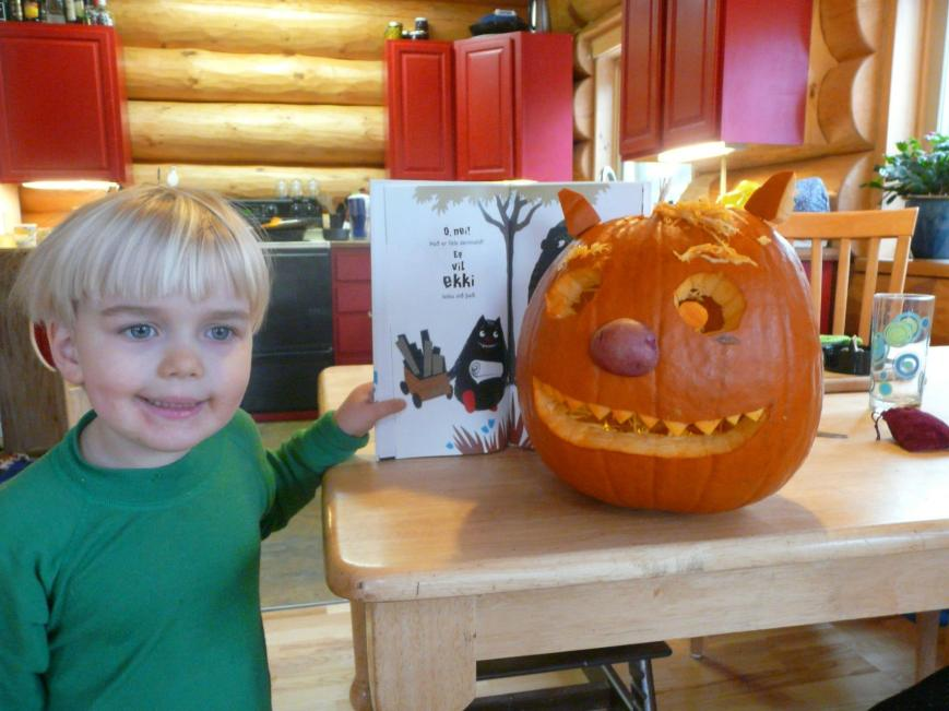 Kári and Little Monster Pumpkin by Tumi Traustason